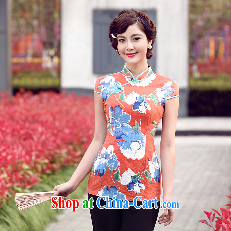 Dresses 2014 Tang replace summer new, cool short-sleeved beauty antique dresses T-shirt linen dresses T-shirt blue floral XXL