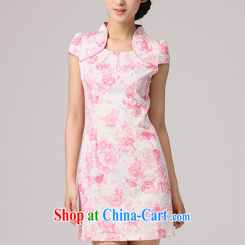 Dresses 2014 new summer cheongsam dress stylish improved autumn outfit improved short cheongsam dress pink XXL