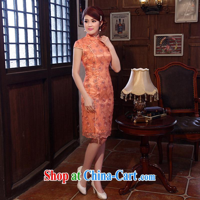 Dresses 2014 summer new lace beauty sense of improvement, Retro ethnic wind dresses dresses orange XXL