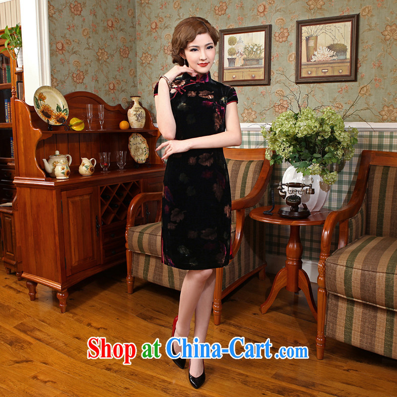 Dresses 2014 new velvet cheongsam stylish improved cultivating cheongsam style banquet evening dress cheongsam dress black 2 XL