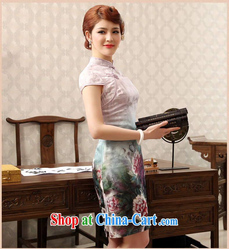 Dresses 2014 summer new, improved day-short, Retro cheongsam dress stamp beauty and elegant pink XXL pictures, price, brand platters! Elections are good character, the national distribution, so why buy now enjoy more preferential! Health