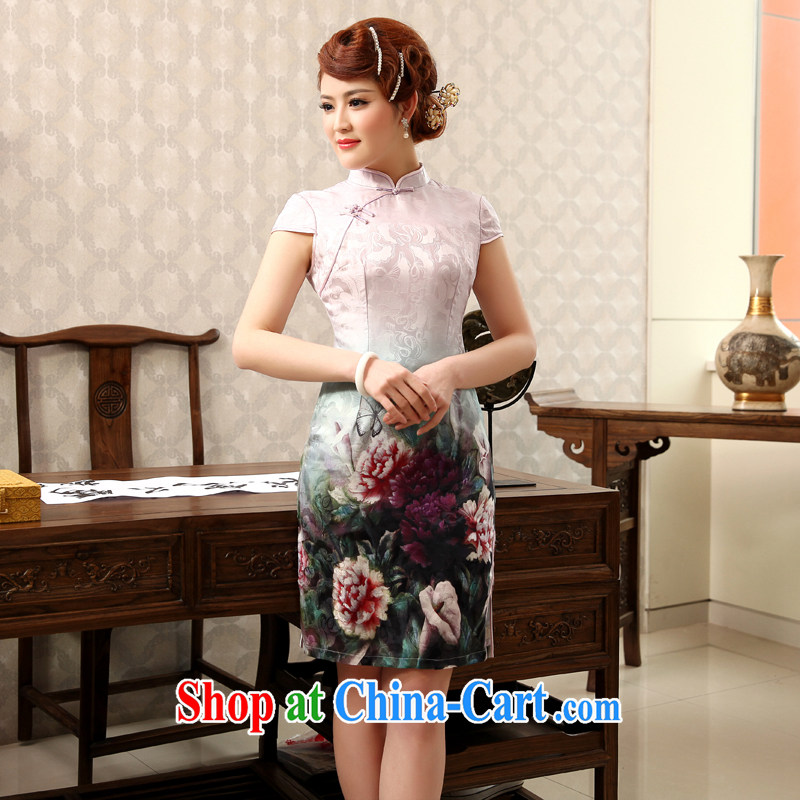 Dresses 2014 summer new, improved day-short retro cheongsam dress stamp beauty and elegant pink XXL