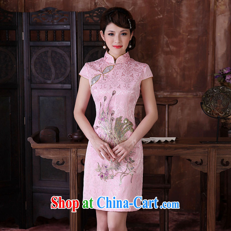 Dresses 2014 summer embroidery Peacock dresses classic improved stylish everyday dresses skirts manually take charge cheongsam dress pink XL
