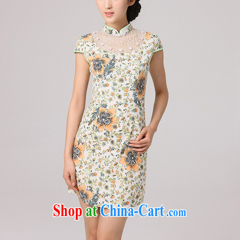 Dresses 2014 summer hot new stylish improved leisure short-sleeved qipao dresses Green S
