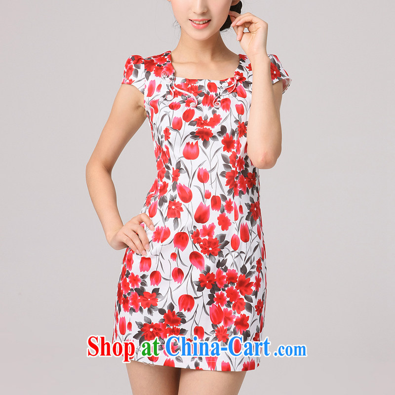 Dresses 2014 summer new, improved cheongsam stylish summer Chinese ladies short cheongsam dress, red XXL
