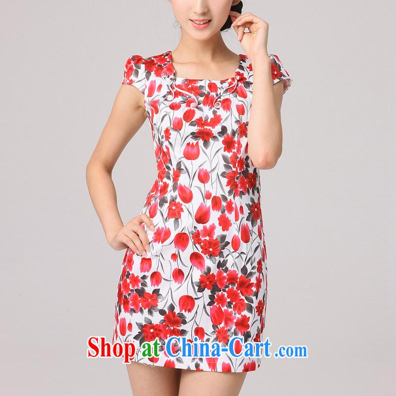 Dresses 2014 summer new, improved cheongsam stylish summer Chinese ladies short cheongsam dress, red XXL