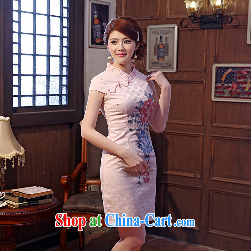 Dresses 2014 summer new improved daily stamp embroidery cheongsam dress beauty fashion short pink XXL