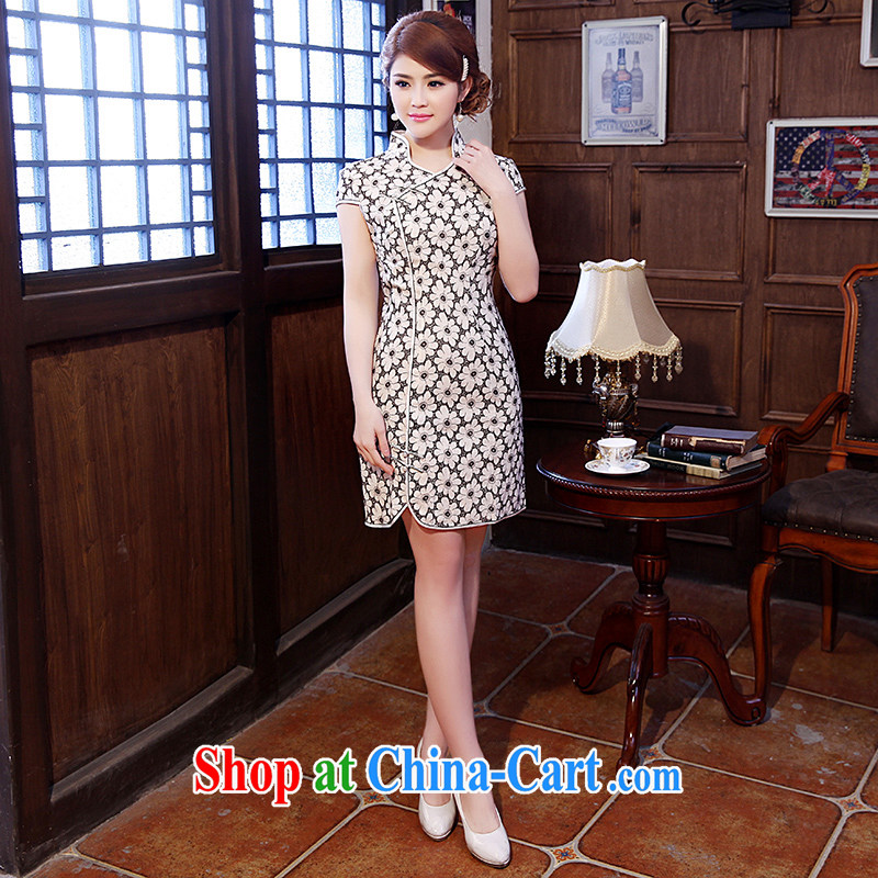 Dresses 2014 summer new women basket with the short-sleeved retro stamp stylish improved graphics thin short cheongsam white flowers XXL