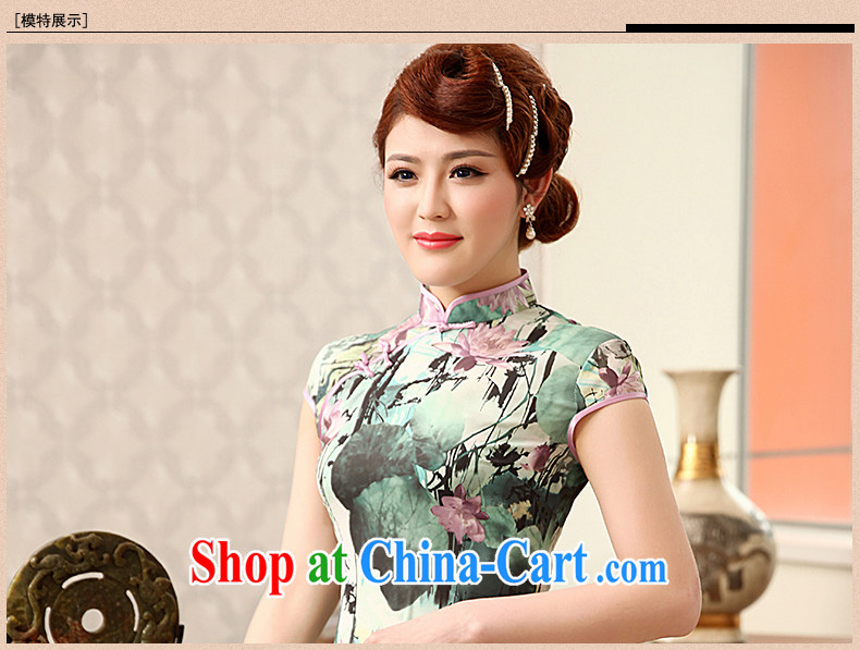 Dresses 2014 summer new Ice silk improved stylish retro daily short Chinese qipao dress green XXL pictures, price, brand platters! Elections are good character, the national distribution, so why buy now enjoy more preferential! Health