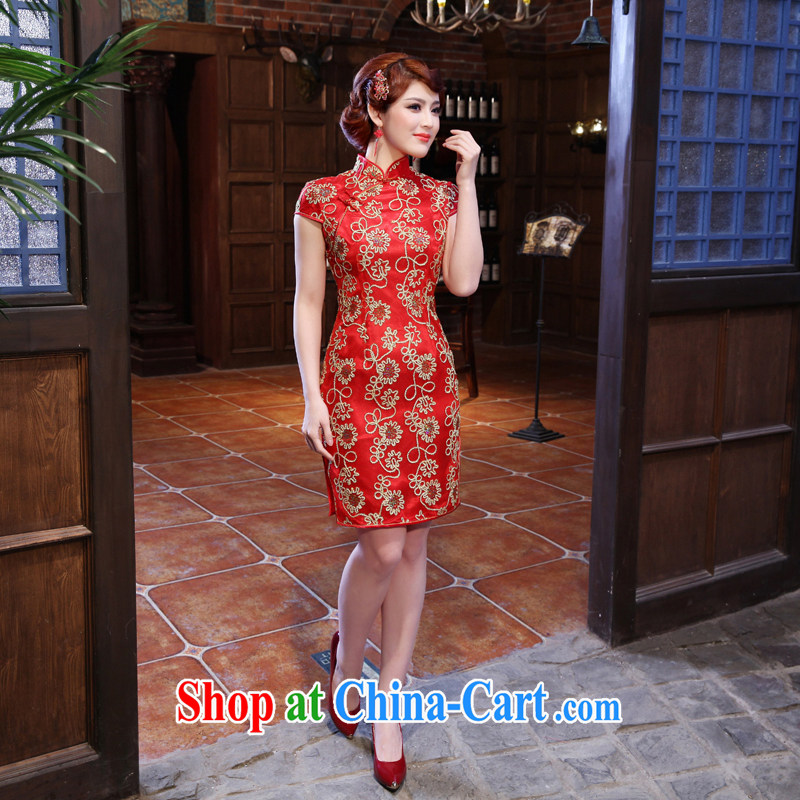 Dresses 2014 summer new bridal dresses wedding toast clothing retro embroidery take short improved cheongsam red XXL