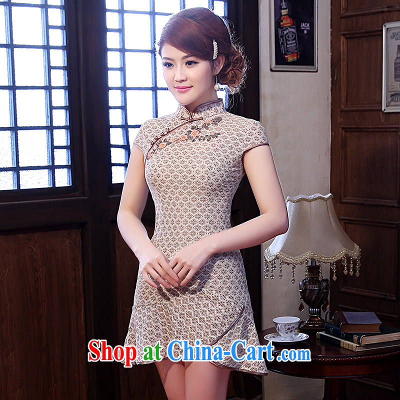 Dresses 2014 summer new stylish short-sleeve retro stamp China wind daily cheongsam dress suit 2 XL
