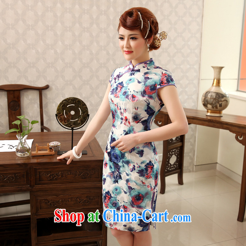 Dresses 2014 summer retro floral pattern improved stylish Stretch video thin short cheongsam dress dresses blue-green 2XL