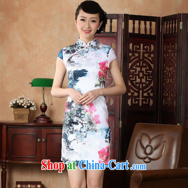 Take the new summer female Chinese improved female Chinese, need for water tight the cheongsam-Lao Cotton robes white XL