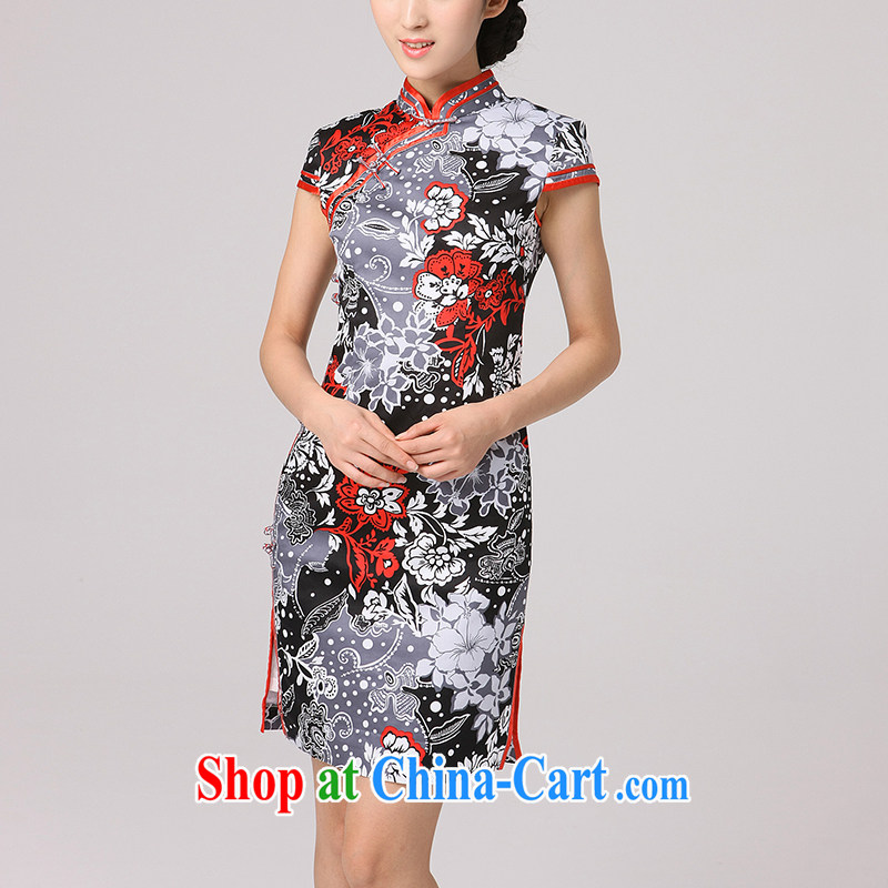 qipao,Chinese improved cheongsam 2014 summer new cheongsam dress stylish Korea classical antique dresses female black flower XXL