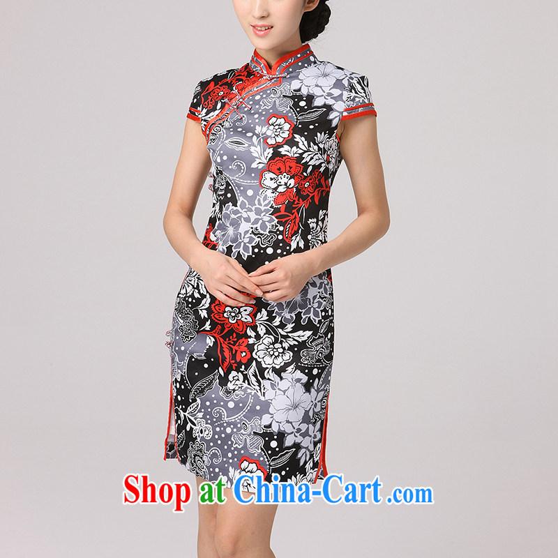 qipao,Chinese improved cheongsam 2014 summer new cheongsam dress stylish Korea classical antique dresses female black flower XXL