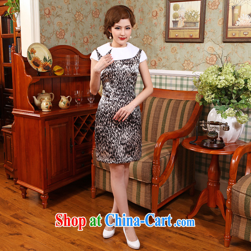 Dresses 2014 new Chinese qipao thick winter clothes improved cheongsam short skirt dress Winter Fashion dress Leopard 2 X