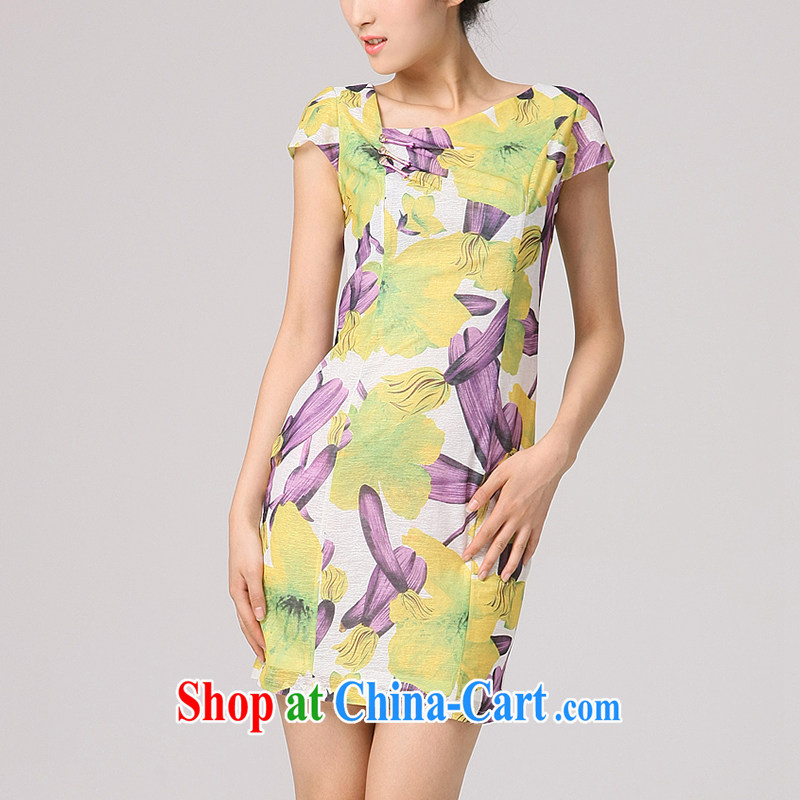 Dresses 2014 summer burglary, improved cheongsam stylish short-sleeved qipao,Chinese antique dresses day dresses yellow and purple flowers XXL
