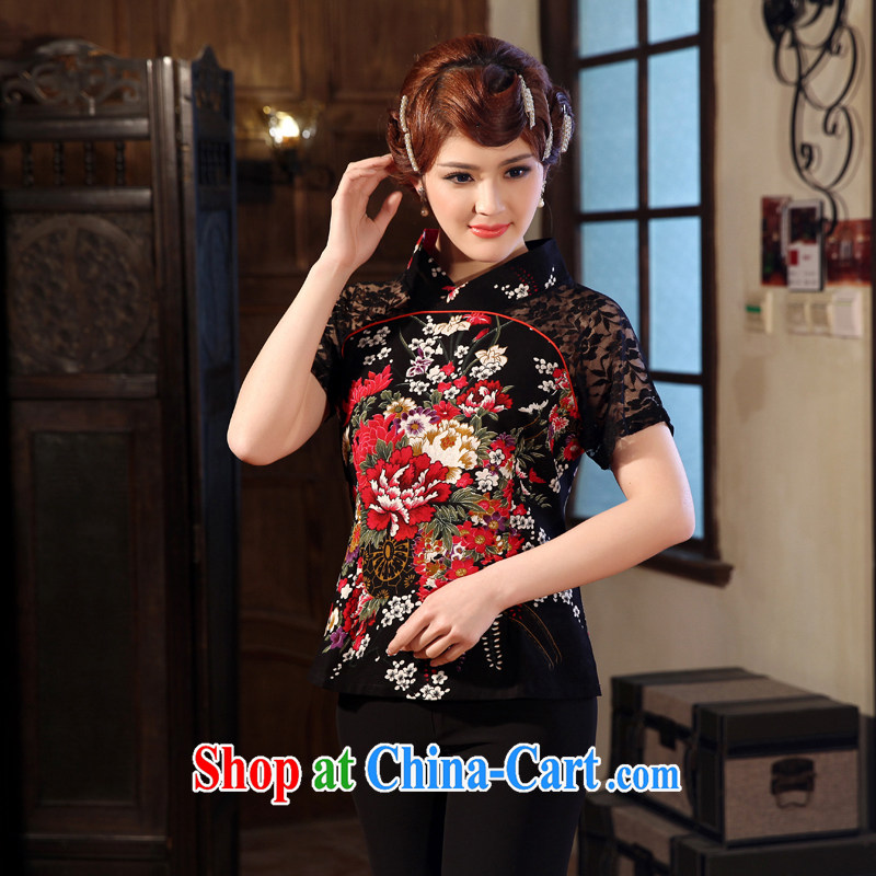 Dresses 2014 summer new lace short sleeves cheongsam embroidered only American classical Chinese, blouses black 4XL