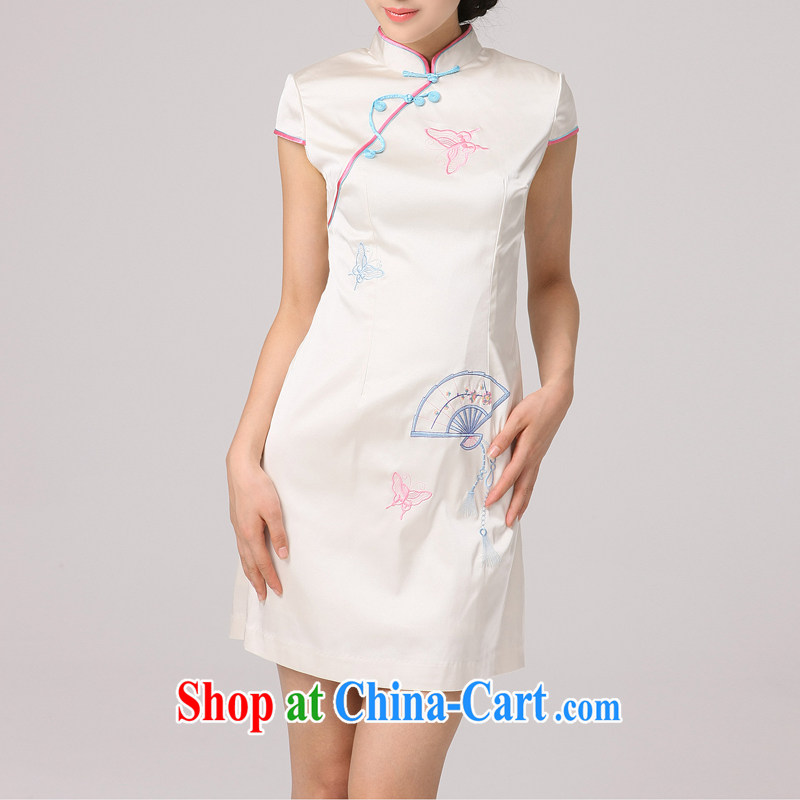 Dresses 2014 summer Butterfly Lovers new daily goods improved Stylish retro beauty manual embroidery short cheongsam beige XXL