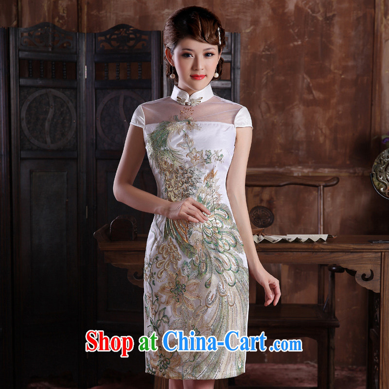 Dresses 2014 summer new ethnic wind improved stylish short-sleeve embroidery Peacock everyday dresses dresses white XXL