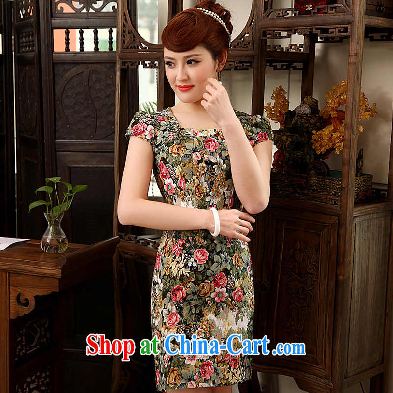 Dresses 2014 summer New floral stamp daily dresses and stylish and improved cultivation short cheongsam dress green XXL