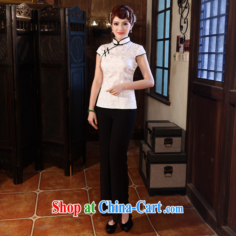 Dresses 2014 summer new stamp T-shirt with short sleeves cheongsam improved Chinese Antique Tang decorated in white robes 2 XL