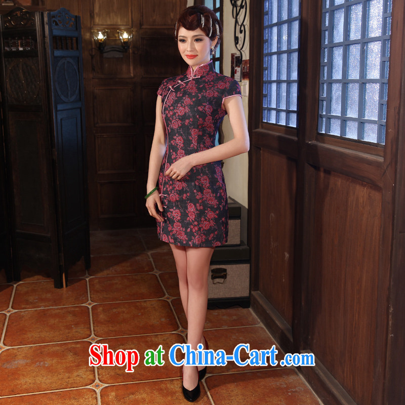 Dresses 2014 summer new retro China wind improved short-sleeved, linen cheongsam dress cotton robes the dark purple XXL