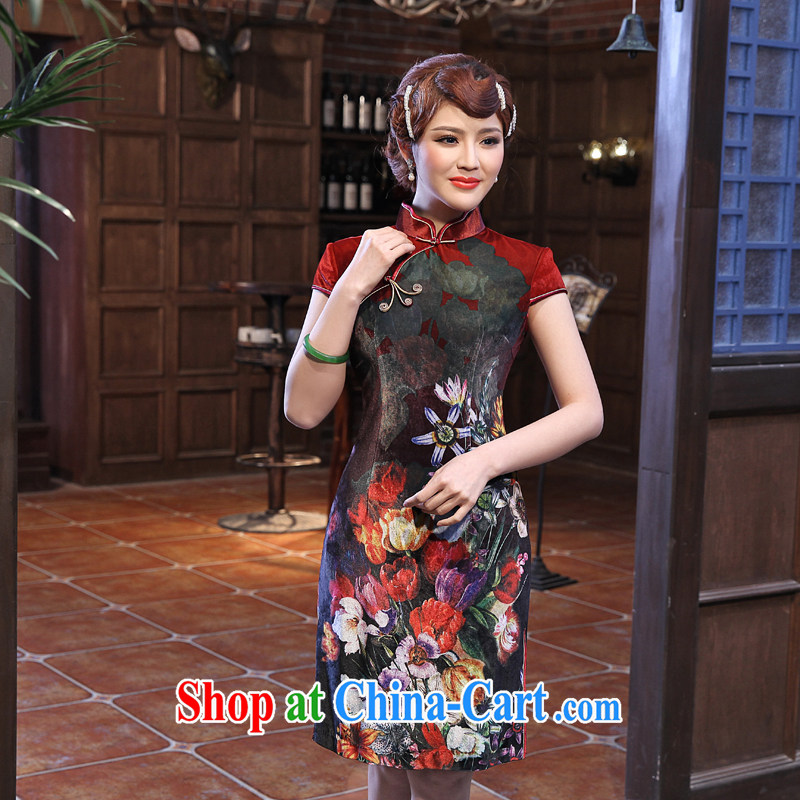 Dresses 2014 summer new stamp duty velour cheongsam spring new improvement in antique long-sleeved dress dark red 2 XL