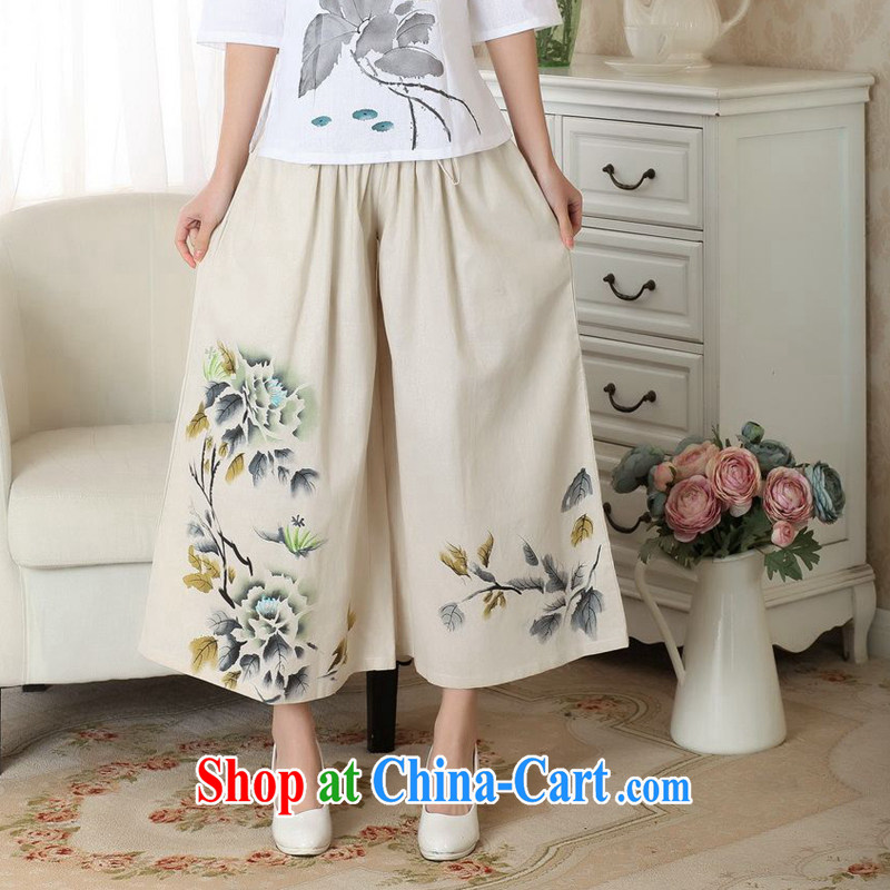 Take the 2014 new summer relaxed stylish Ethnic Wind girls pants hand-painted cotton Ma pants Wide Leg pants with short pants m yellow L