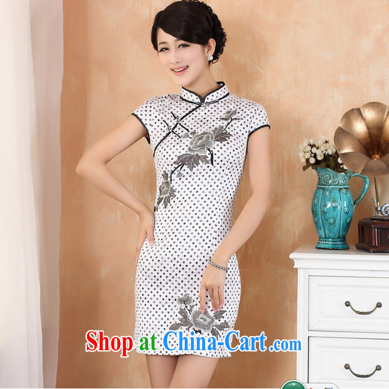 Take the new summer stylish Chinese improved elegance elegant embroidered cotton, for a tight female short cheongsam white L
