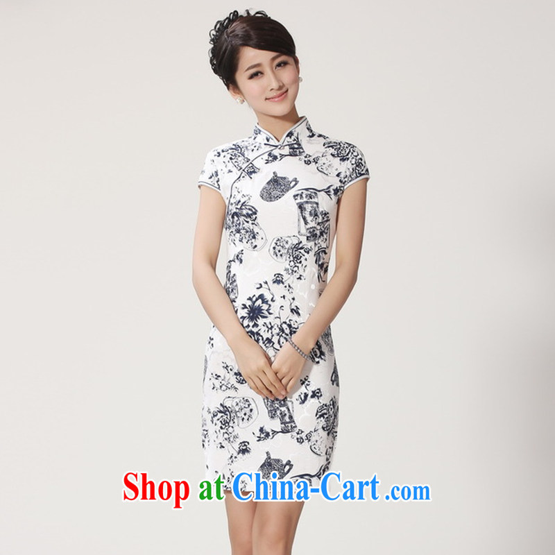 Take the new women with stylish and improved summer Chinese Chinese, who is a hard-pressed flax blue and white porcelain short-sleeved dresses blue and white porcelain 2 XL