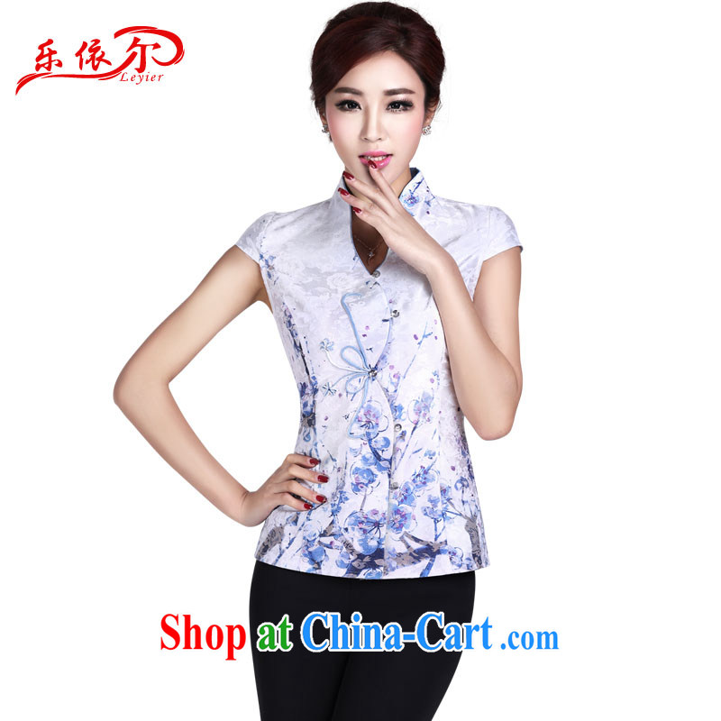 2014, in summer, new Chinese Ethnic Wind retro elegant personalized improved short-sleeved Chinese T-shirt LYE 1366 white T-shirt + pants XXL