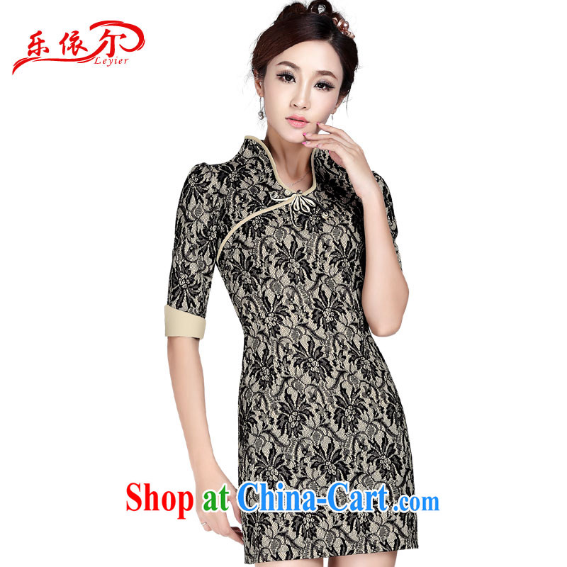 And, according to Ms. summer cuff in cheongsam retro sexy and elegant embroidery cheongsam sexy lace in cuff, qipao LYE 1377 Map Color XXL