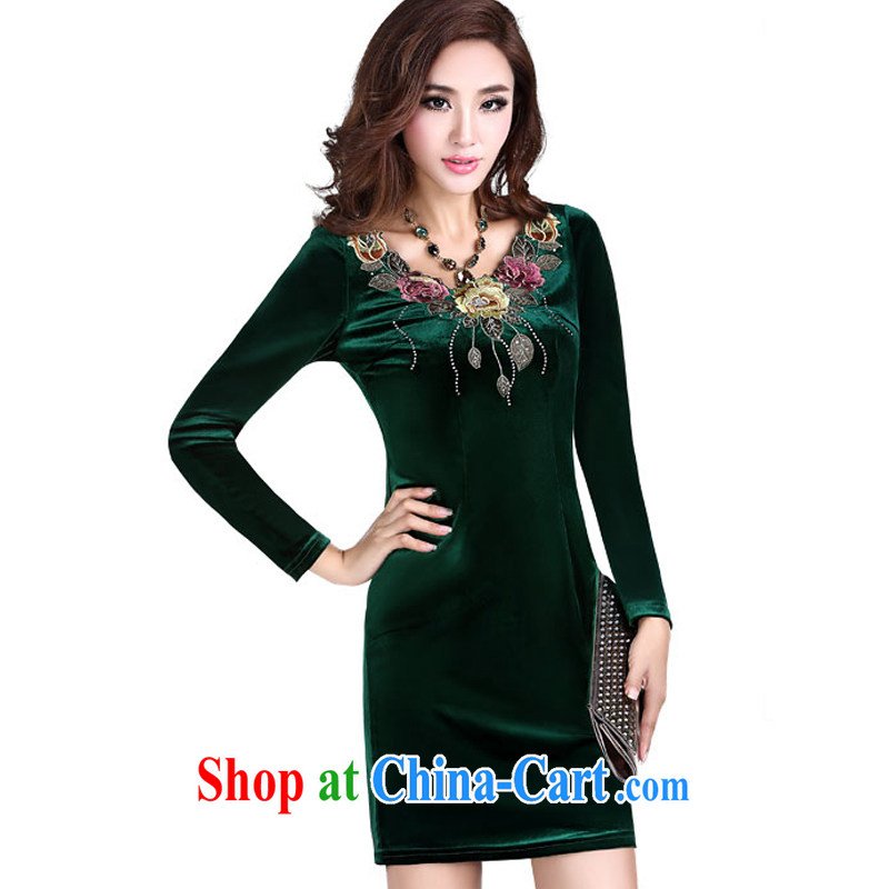 Music in summer women's clothing dresses retro embroidered cheongsam dress improved stylish beauty velvet long-sleeved dresses LYE 1391 green XXL