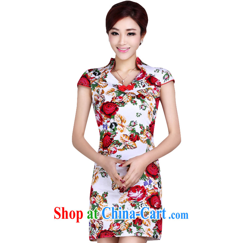 And, according to Mr Ronald ARCULLI is new, short-sleeved short cheongsam girls retro stamp elegant and refined daily girl cheongsam dress LYE 1392 white XXL