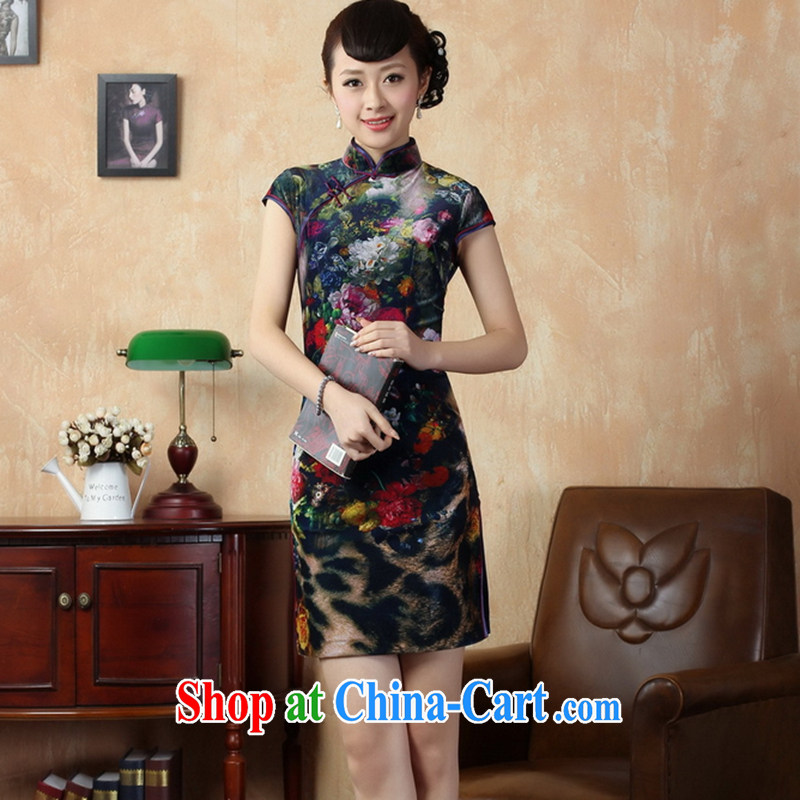 Take the new summer female Chinese improved cheongsam Chinese Spring gold velour painting stylish classic short cheongsam TD XL 0011