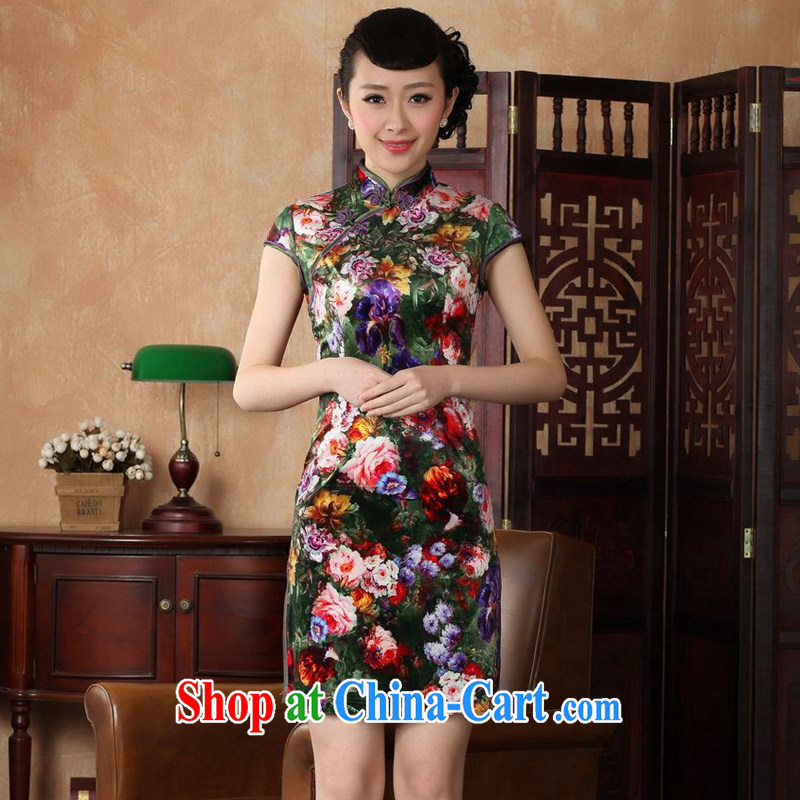 Take the new summer Women's clothes dresses with short stretch gold velour painting stylish classic short-sleeved traditional manual cheongsam TD 0012 - A 2 XL