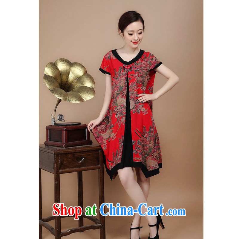 Forest narcissus summer 2014, new Chinese cotton stamp loose dresses FGR - C 1128 red XXL