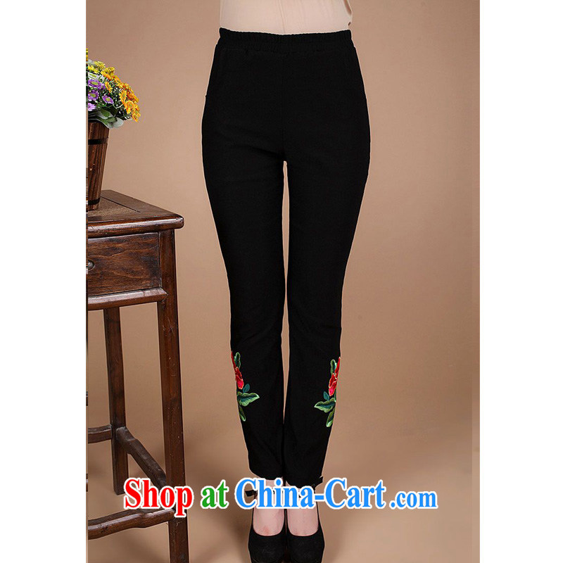 Forest narcissus 2014 spring and summer new mom with cotton beef tendon Elastic waist pants rhythm FGR - B 9802 black XXXL