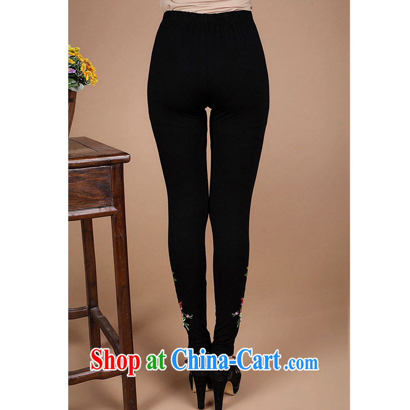 Forest narcissus 2014 spring and summer new moms who are decorated with solid rhythm pants FGR - B 9801 black XXXL