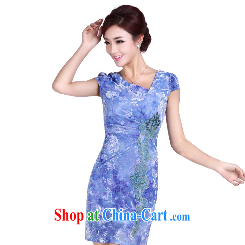 And, according to Ms. summer short-sleeved embroidered cheongsam girl short, elegant ladies beauty package and cheongsam dress LYE 8809 blue S
