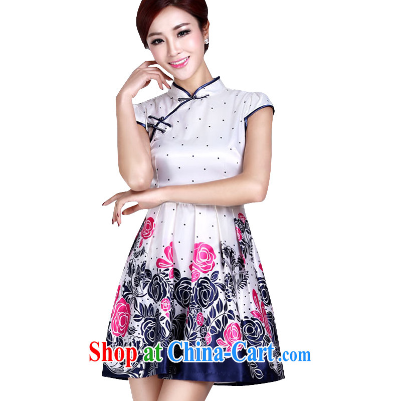 And in summer, the cheongsam dress retro improved short cheongsam elegant beauty big girl dresses LYE 9016 white purple XL