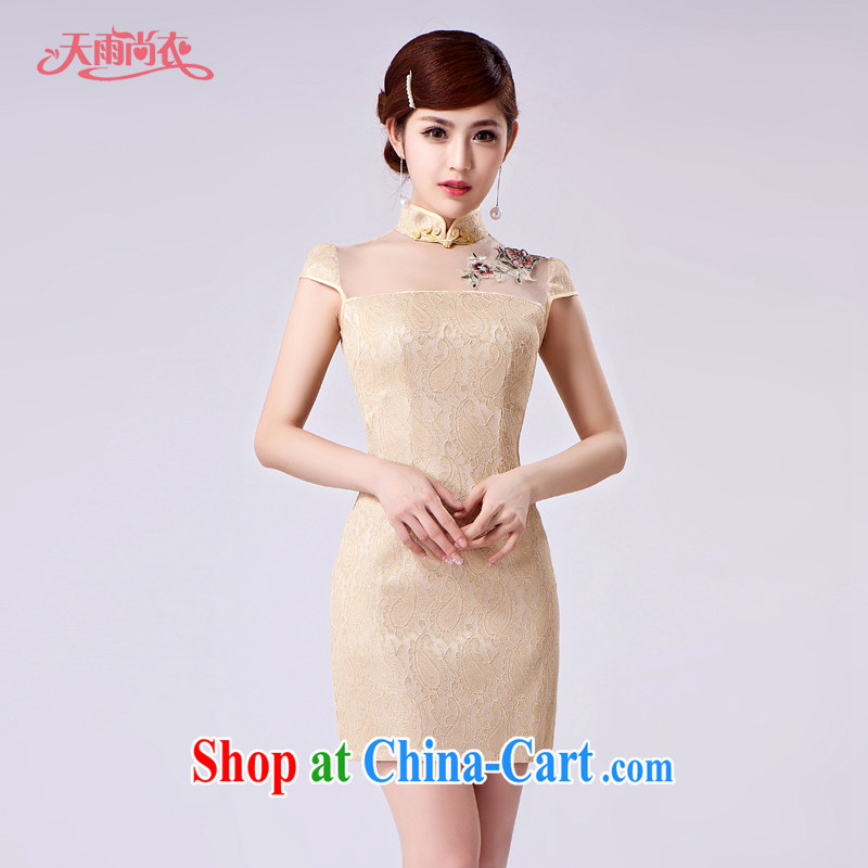 Rain is still clothing bridal wedding dresses serving toast summer short skirts lace cheongsam dinner will be brides with short-sleeve dresses QP 7002 apricot XXL