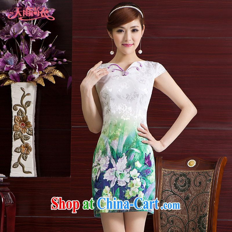 Rain Coat is stylish and improved short summer wear cheongsam dress short-sleeved, photo building photo dresses wedding dress day dresses QP 7006 photo color XXL