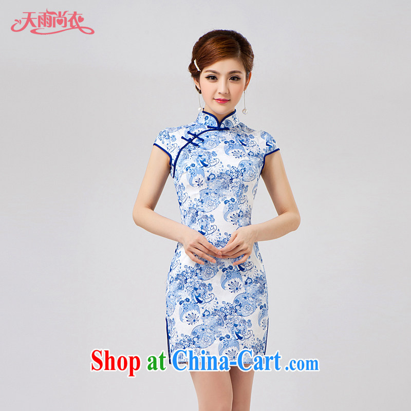 Rain Coat is stylish and improved cheongsam new women's clothing dresses short summer decoration, short-sleeved, daily outfit QP 7007 photo color XXL