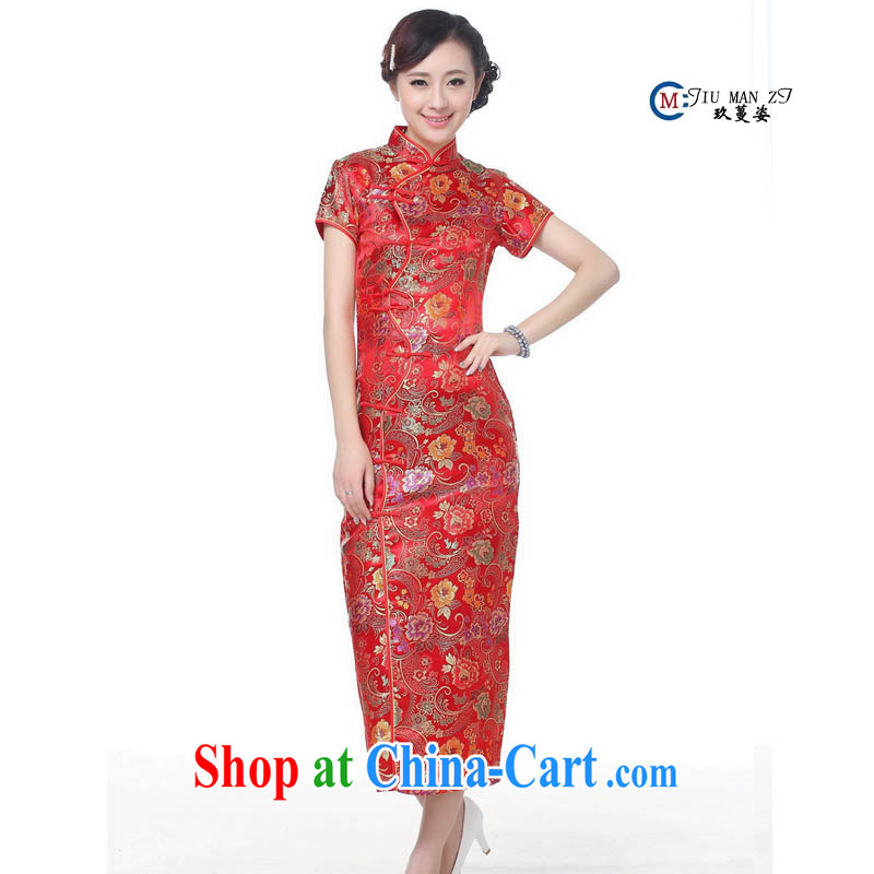 Ko Yo Mephidross Colorful spring and summer Girls High long Silk Cheongsam retro long high on the truck cheongsam dress CHUANGQIPAO C 0001 red 180/3 XL
