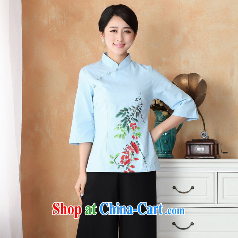 Take the 2014 new stylish hand-painted dresses T-shirt cotton mA maximum code Chinese female improved Han-Chinese, summer - 1 blue 3 XL