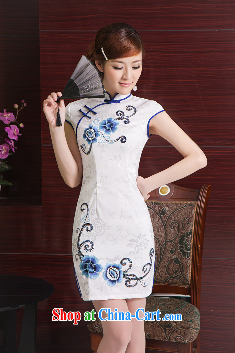 Rain was clothing bridal portrait dress stylish improved summer short, elegant Chinese wind everyday embroidery cheongsam QP 7011 white Suzhou shipping M pictures, price, brand platters! Elections are good character, the national distribution, so why buy now enjoy more preferential! Health