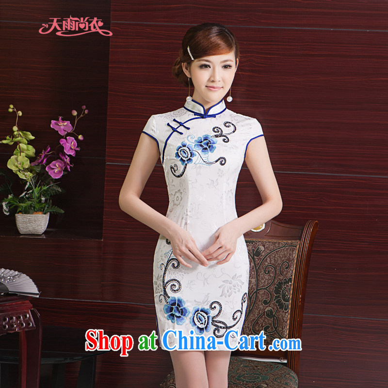 Rain was clothing bridal portrait dress stylish improved summer short, elegant Chinese wind everyday embroidery cheongsam QP 7011 white Suzhou shipping M