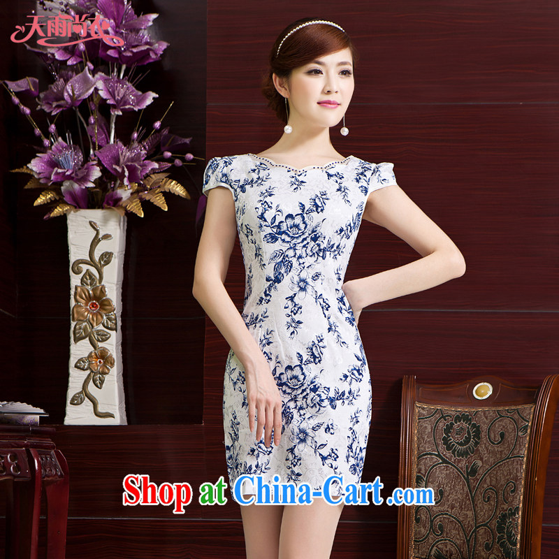 Rain is still clothing bridal wedding dresses stylish improved bridal mother short cheongsam elegant beauty ethnic wind cheongsam QP 7012 picture color XXL